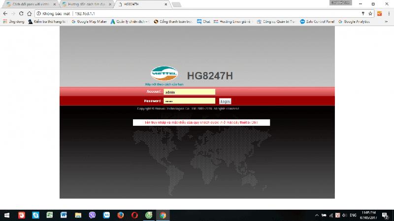 Đăng nhập trình duyệt đổi mật khẩu wifi Viettel