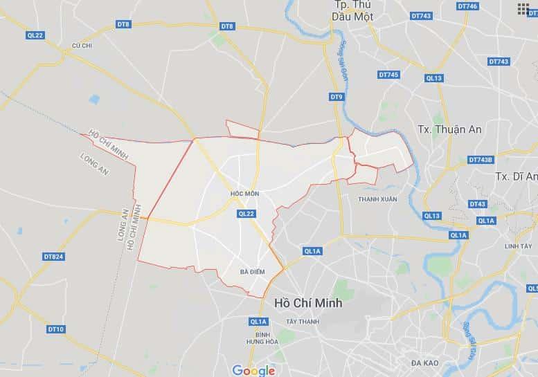 bản đồ huyện hóc môn