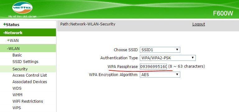 Đổi mật khẩu modem ZTE Viettel